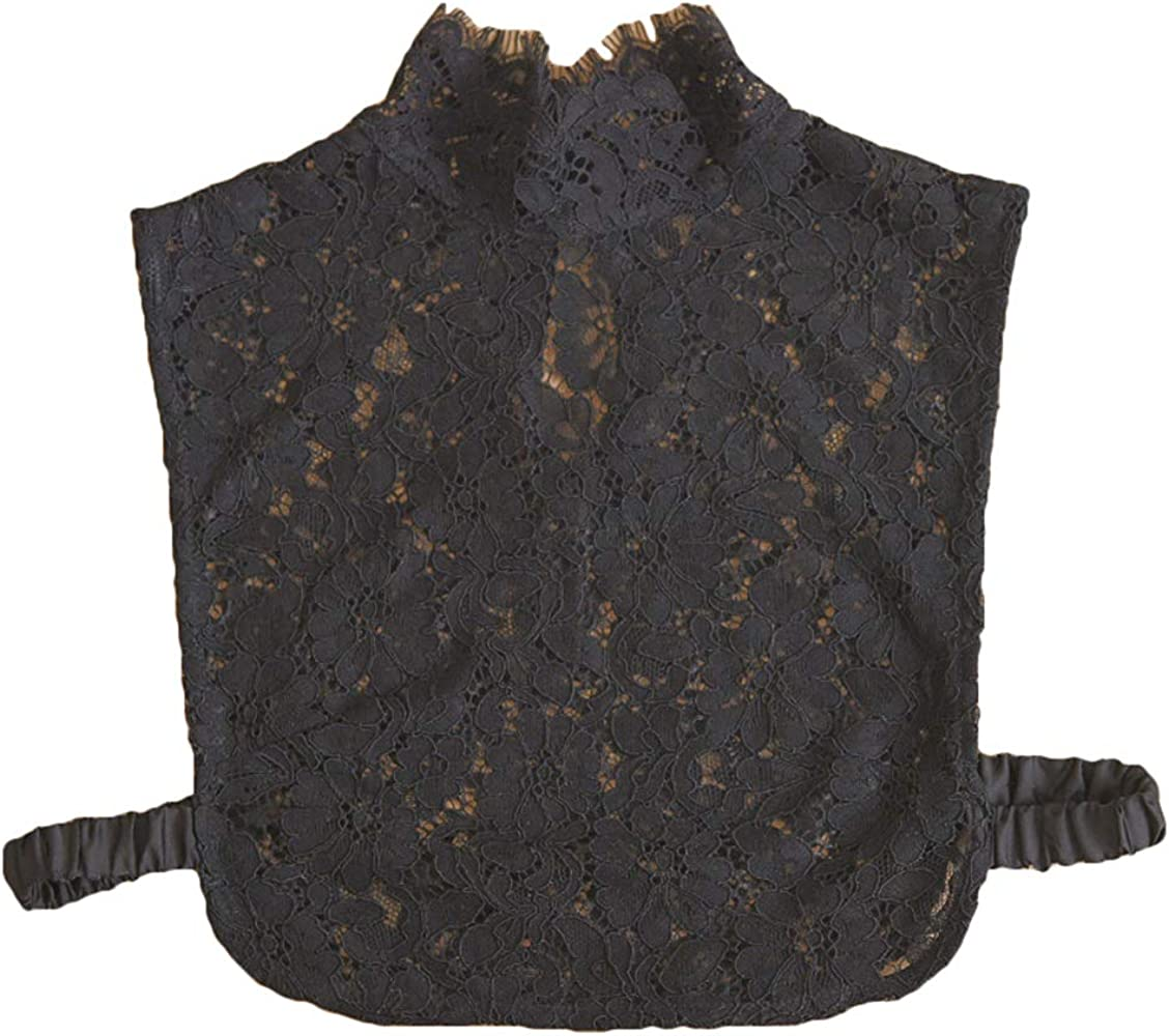 Women Hollow Floral Lace Fake Collar Turtleneck Detachable Dickey Half Blouse