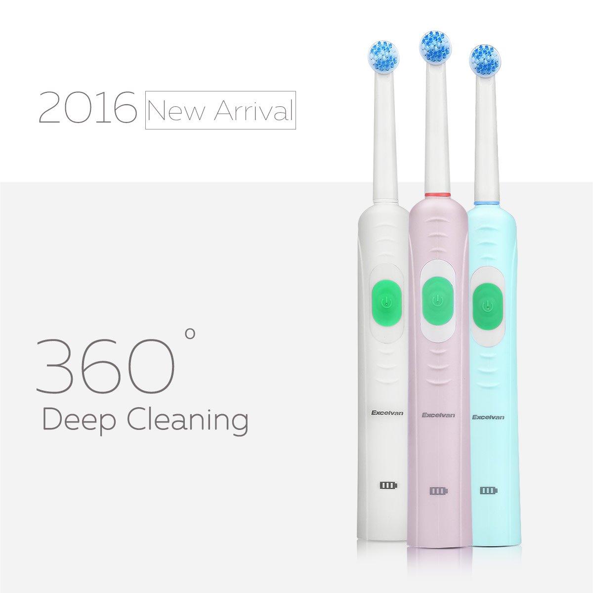 Excelvan - Cepillo de Dientes Eléctrico Impermeable Recargable Suave Elástico Boquillas Cuidado Dental con 2 Cabeza de Cepillo, Enchufe de la UE (Blanco): ...
