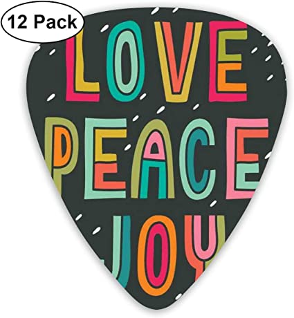 Guitar Picks 12-Pack,Multicolor Typography Of Love Peace Joy ...