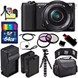 Sony Alpha a5100 Mirrorless Digital Camera with 16-50mm Lens (Black) + Battery + Charger + 64GB Bundle 6 - International Version (No Warranty)