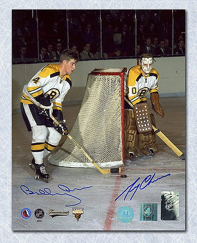 Bobby Orr & Gerry Cheevers Boston Bruins Dual Autographed Legends 16x20 Photo GNR COA - Signed Hockey Pictures
