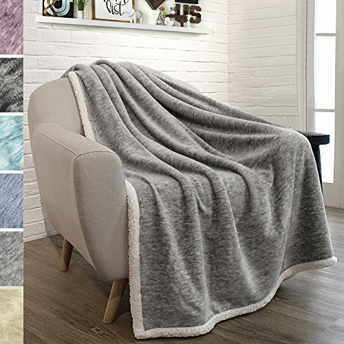 PAVILIA Premium Sherpa Melange Throw Blanket for Couch, Sofa by Soft, Fluffy, Plush, Warm, Cozy, Fuzzy Lightweight Microfiber, Luxury Modern Reversible TV Blanket (50 x 60 Inches, Light Gray)