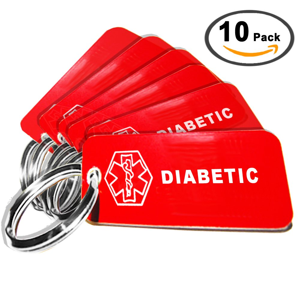 My Identity Doctor – 10 Pre-Engraved Diabetic Plastic Medical Alert ID Keychains, 2.25 x .79 Inch – Made in USA