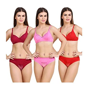 34f8836ce9 Hakimi®Multi Color print Set Of 3 Women s Bra   Panty Sets Combo   Amazon.in  Clothing   Accessories