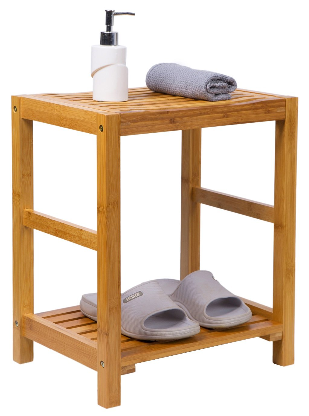 Bamboo Shower Bench Seat Stool with Storage Shelf Applicable to Indoor or Outdoor Use