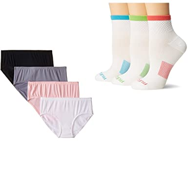 8dd5606abc78 Amazon.com: Fruit of the Loom Women's 4 Pack Breathable Low-Rise Brief  Panties & 3 Pack Breathable Ankle Sock: Clothing