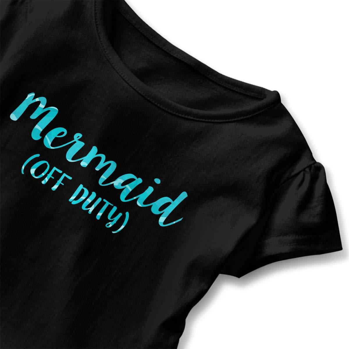 Off Duty Mermaid Toddler Girls T Shirt Kids Cotton Short Sleeve Ruffle Tee