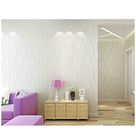 3d Embossing Pattern Wallpaper Roll Shinny White Curve Line