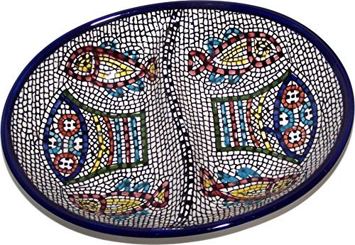 (Double Dish Tabgha Ceramic Serving Snack Dish (7.5 Inches) - Asfour Outlet Trademark)