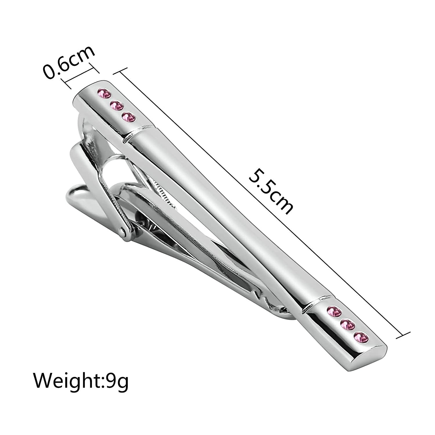 KnSam Stainless Steel Tie Clips for Mens Glossy Zirconia Rectangle Pink Tie Bar