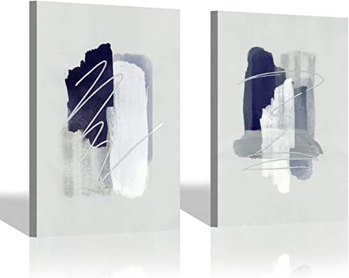 Gray Abstract Canvas Wall Art Modern Minimalist Grey Painting Artwork for Living Room 24 x 18 x 2 Panels