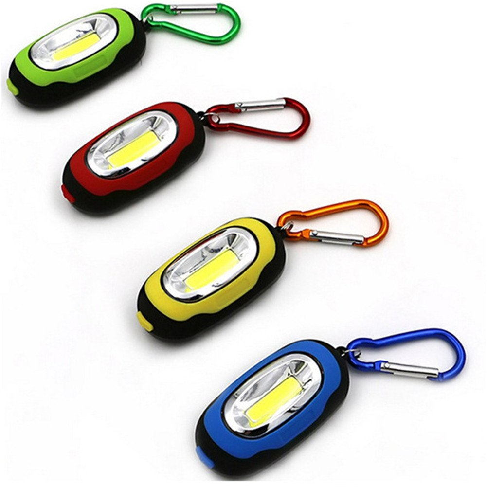 MLM Elecrainbow Magnetic Pocket Key Chain Flashlight/ COB Super Brightness with Carabiner Assorted Colors(pack of 24) by MLM
