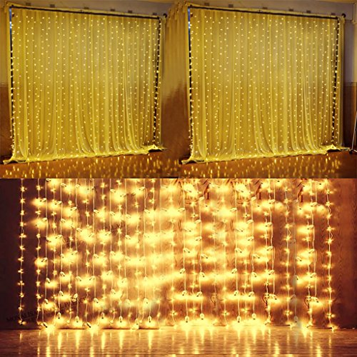 Quntis LED Curtain String Lights, Indoor Outdoor 300 LEDs 29V Warm White LED Icicle Starry Lights Decor for Home Bedroom Kitchen Garden Patio Window Wedding Party Holiday Christmas, UL588 certified by Quntis (Image #1)