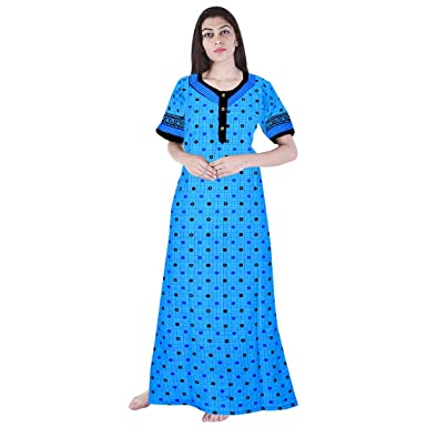 67841d4b35 Khushi Print Cotton Nighty Night Gown Nightwear Nightdress  Amazon ...