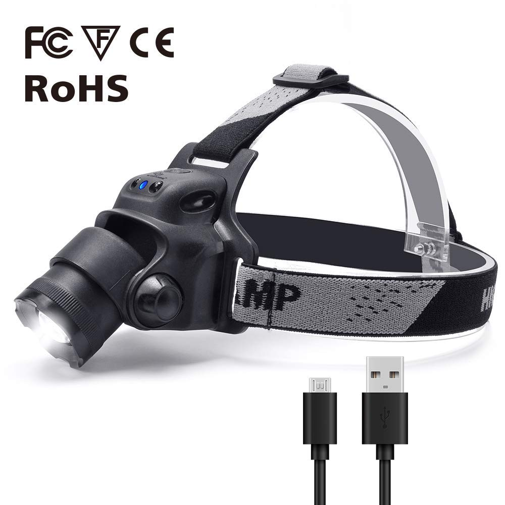 Smart Infrared Sensor Switch Hiking Adjustable Headband LED Headlamp Flashlight Running N N.ORANIE 300 Lumen USB Rechargeable Waterproof Flashlight with Zoomable Work Light Outdoors for Camping