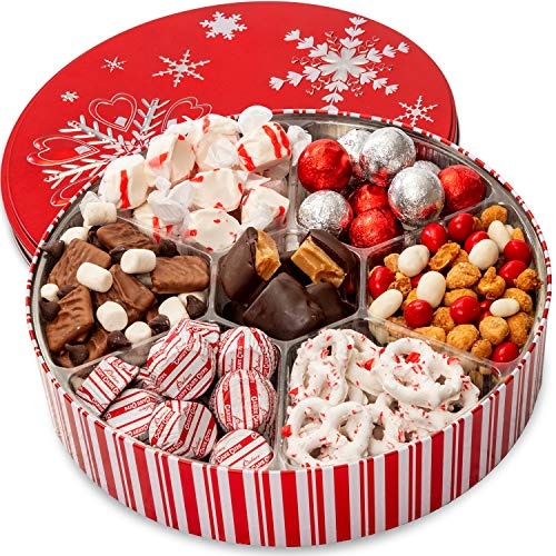 Christmas Holiday Chocolate Gift Basket - Gourmet Food Gifts Prime Delivery - Chocolate & Nut Gift Box, Assortment Tray - Birthday, Sympathy, Get Well, Men, Women & Families - Bonnie & Pop (Christmas Gift Food For)