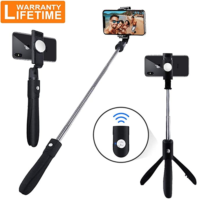 Bluetooth Selfie Stick with Wireless Remote for iPhone Xs//X//iPhone 8//8 Plus//iPhone 7//7 Plus Galaxy S9//S8 LDD OUTDOOR Portable Selfie Stick Tripod
