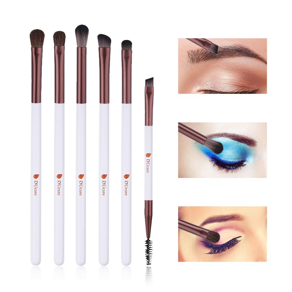 DUcare 6pcs Eyeshadow Brushes with Portable Plastic Case Makeup Eye Brush Set Eyeshadow Eyebrow Blending Cosmetics Brushes Rose Gold and White