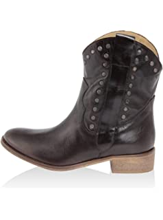 ZETA SHOES Stivali texani in pelle stella glitter cuoio nero tacco basso nero, 39 MainApps
