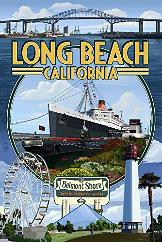 Long Beach, California - Montage (16x24 SIGNED Print Master Giclee Print w/ Certificate of Authenticity - Wall Decor Travel - Shore Belmont Beach California Long