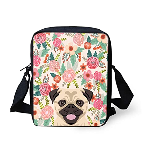 UNICEU Samll Childrens Cute Pug Print Messenger Bag Outdoor Travel Portable Adjustable Satchel Crossbody Bags with Zipper