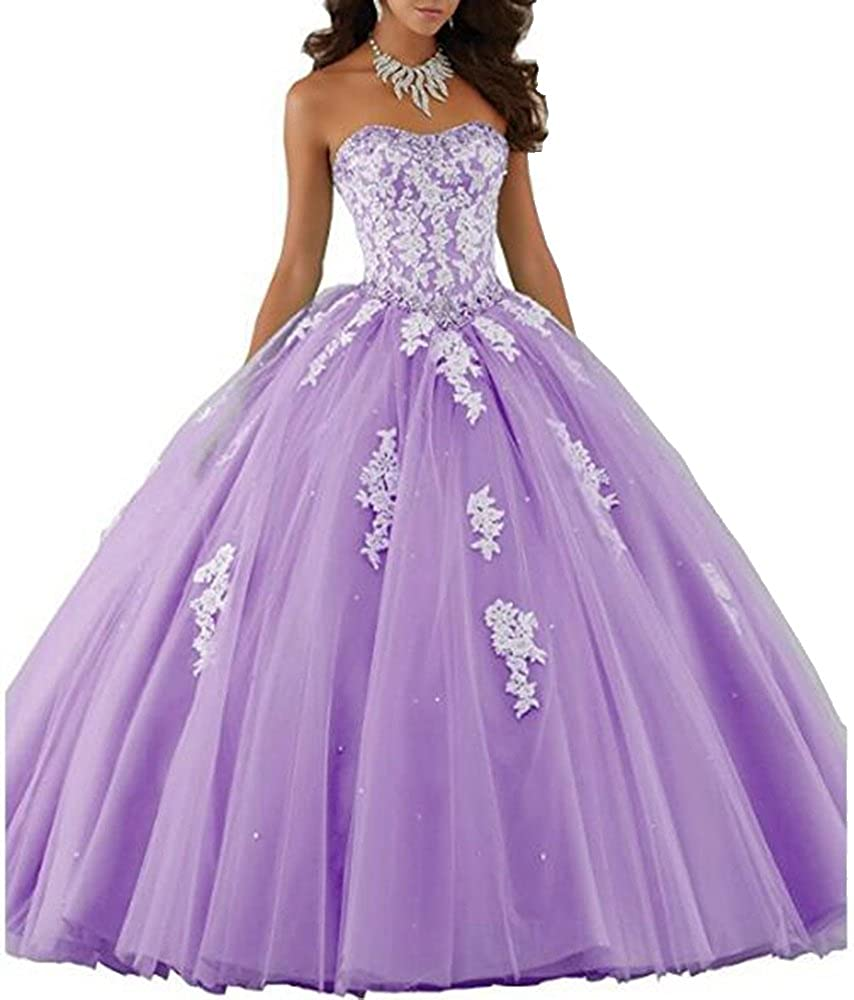 Style1purplec ANGELA Women's Ball Gown Organza Quinceanera Dresses Prom Gowns
