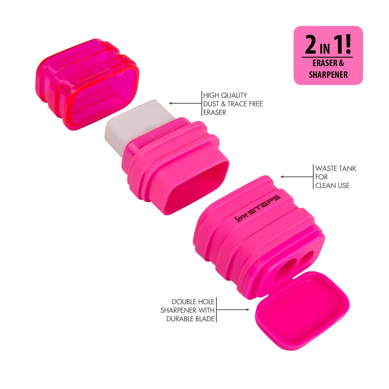 Serve SV Step S9KT Steps Eraser and Sharpner One Body Paper Box, Pack of 9-Fluorescent Colors by Serve (Image #2)