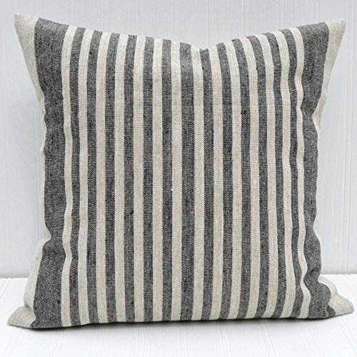 Pillow Cover 18x18 Linen Natural and Black Thin Stripe