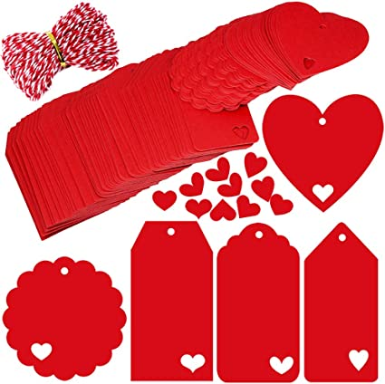 Supla 150 Pcs 5 Style Valentine Heart Cut-Out Gift Tags with Holes Favor Tags Blank Hang Label Tags Present Tags Treats Tags Wish Tree Tags in Red and 30 Yards Decorative Bakers Twine in Red White