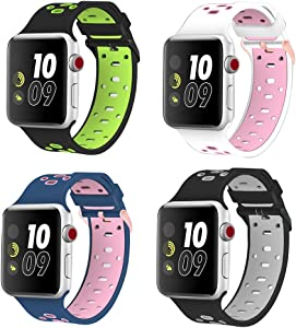 Isenxi Compatible for Apple Watch Band 38mm/40mm, 4 Pack Soft Silicone Sport Style Strap Replacement for iwatch Series 4 Series 3 Series 2 Series 1 (40mm/38mm-4pack(05))
