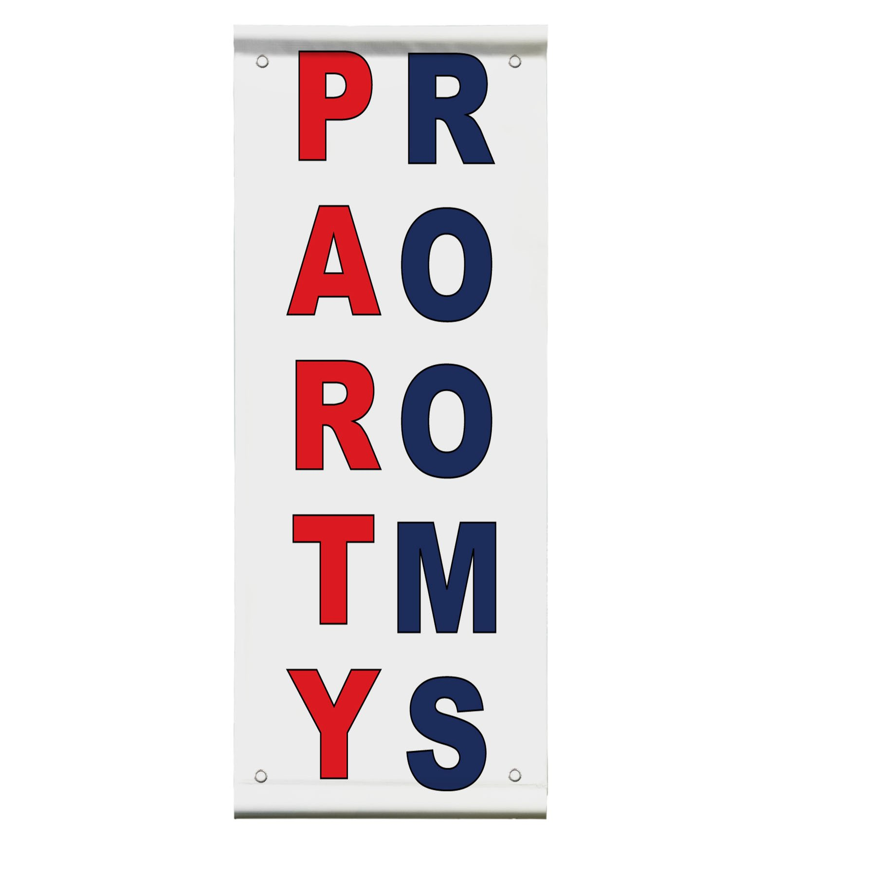 Party Rooms Red Blue Double Sided Vertical Pole Banner Sign 24 in x 48 in w/ Pole Bracket