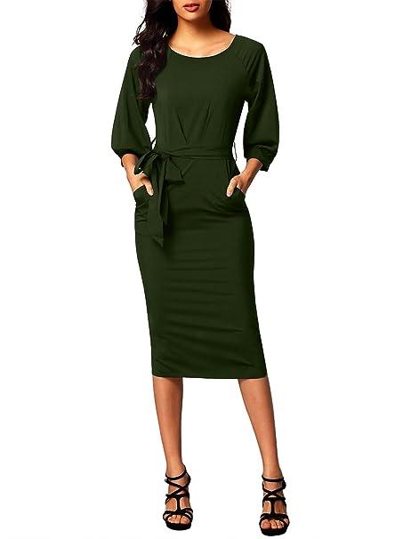 Dearlovers Women Long Sleeve Wear to Work Pencil Dress with Belt