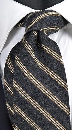 Graffeo - Corbata de hombre de lana y seda gris oscuro regimental ...