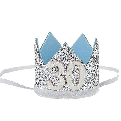 Amazon.com: 1 diadema de 30 cumpleaños para adultos, corona ...