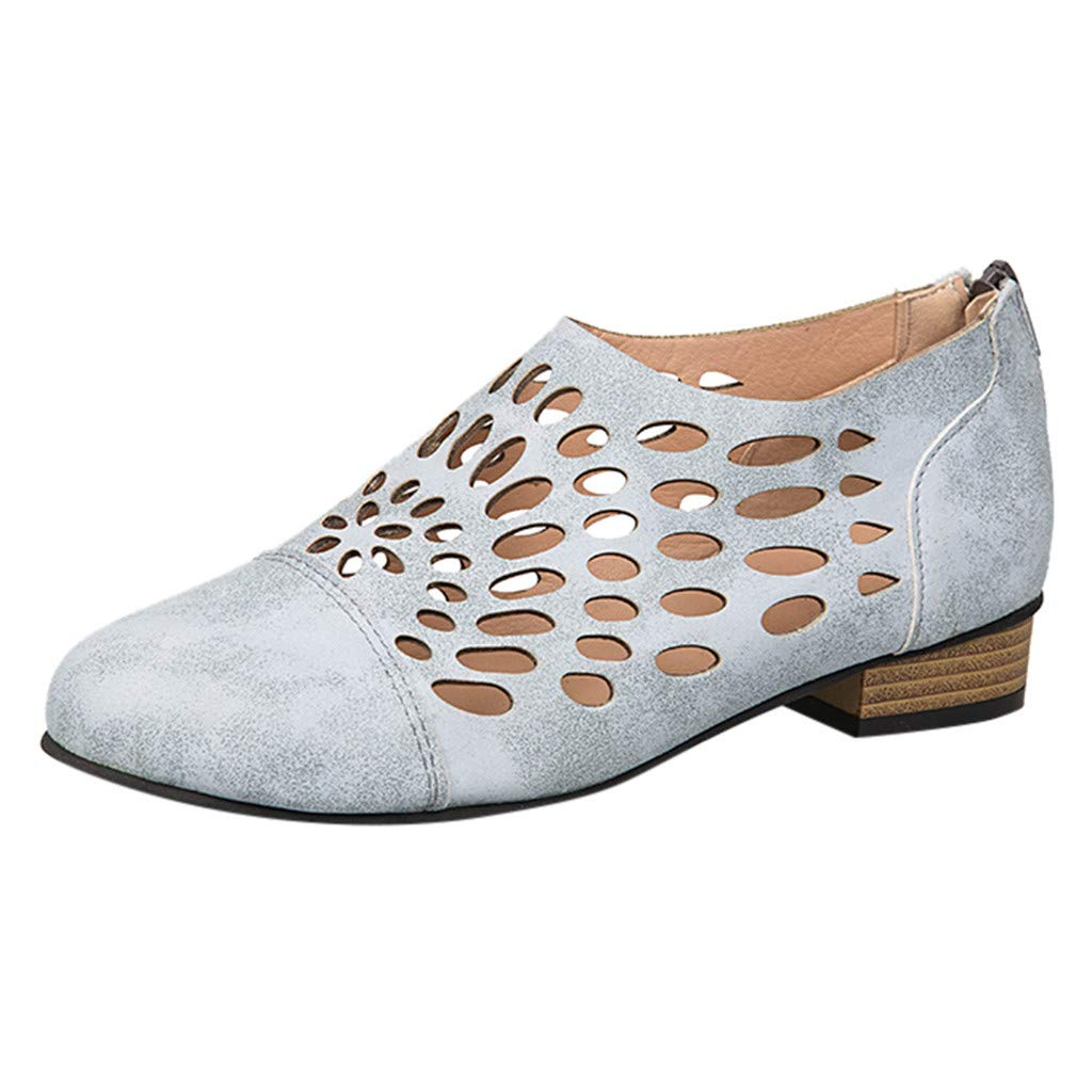 Respctful✿Women's Ankle Slip On Loafer Cut Out Zipper Chunky Heels Short Boots for Women Low Heel Closed Point Toe Shoes Gray