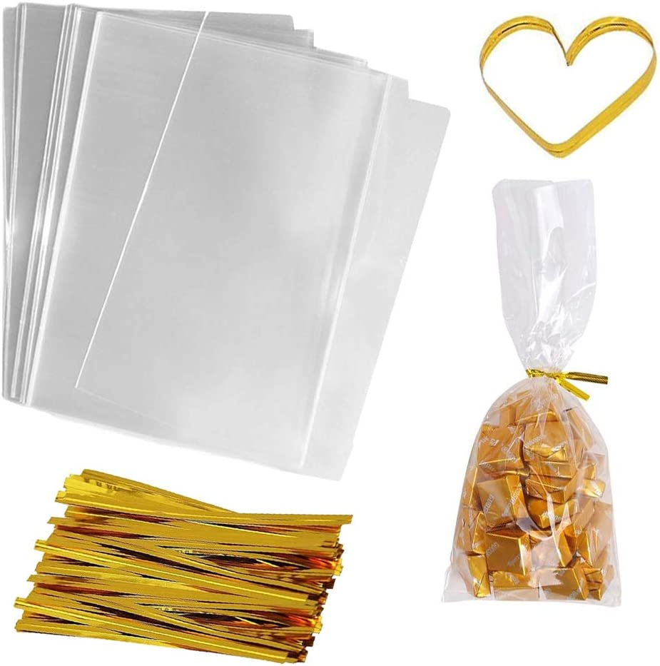 Cellophane Bags 200 PCS Clear Flat Cello Treat Bags Party Favor Bag for Gift Bakery Cookies Candies with 200 Twist Ties (4x6