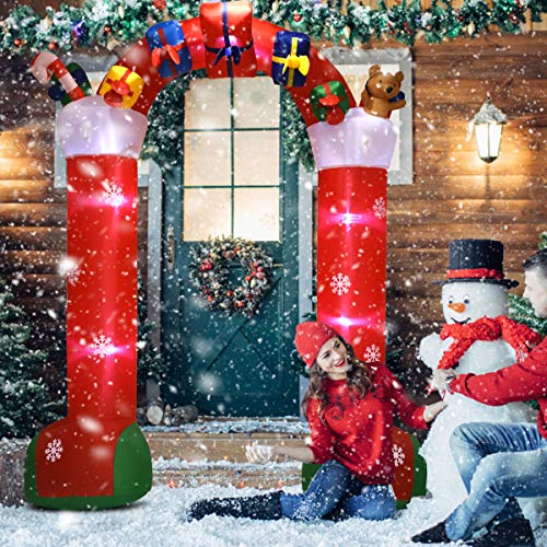 Tangkula 10 Ft Inflatable Christmas Stocking Arch with Gift Boxes Self Inflating Electric Blow Up Lighted Interior with Fan and Anchor Ropes, Indoor Outdoor Garden Yard Family Prop Decoration