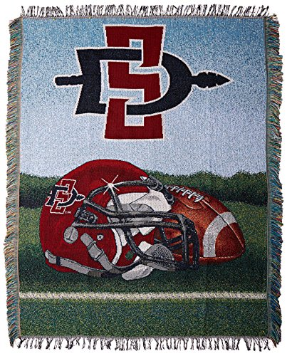 Officially Licensed NCAA San Diego State Aztecs Home Field Advantage Woven Tapestry Throw Blanket, 48