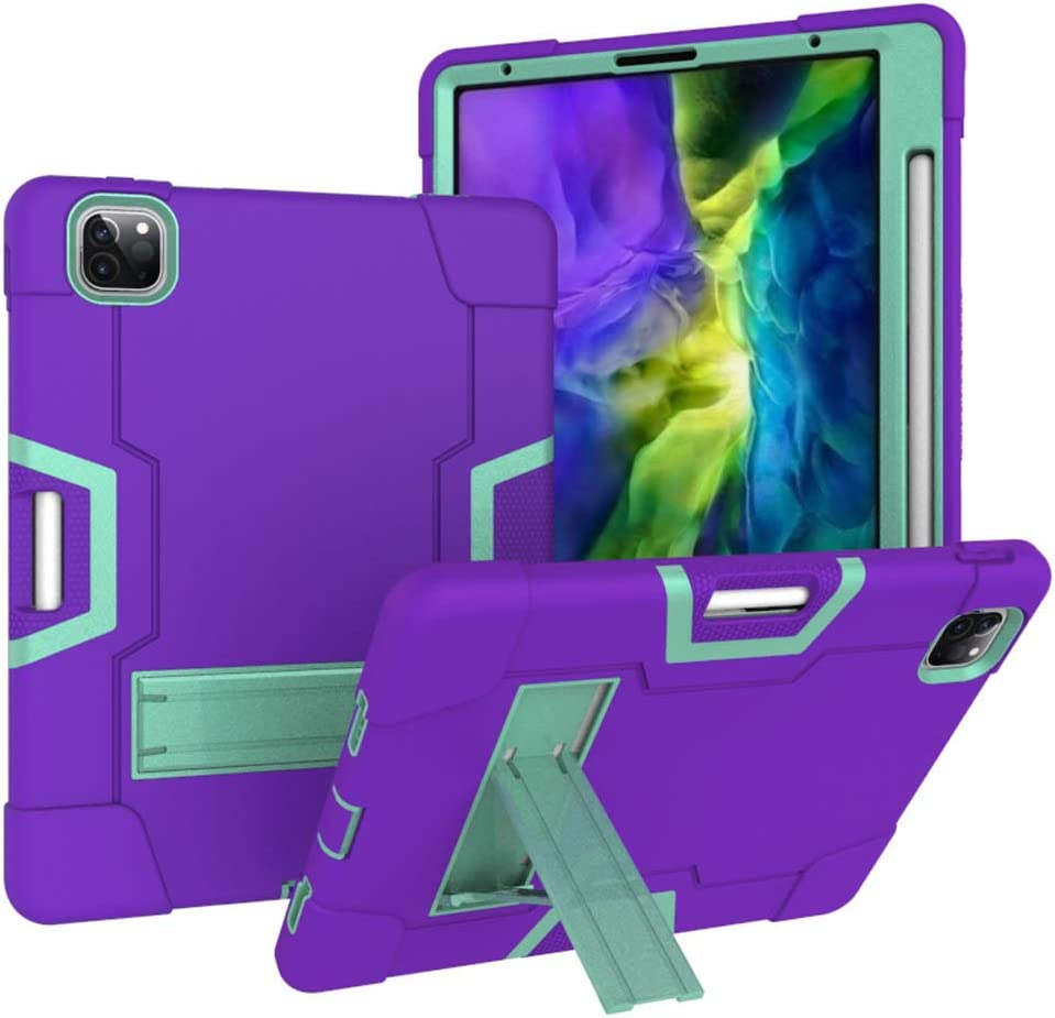 CASEHAVEN Rugged Kickstand Series for iPad Pro 11 Case 2nd & 1st Generation 2020/2018 - Shockproof Heavy Duty Hybrid Three Layer Armor Defender Kids Child Proof Cover - Purple
