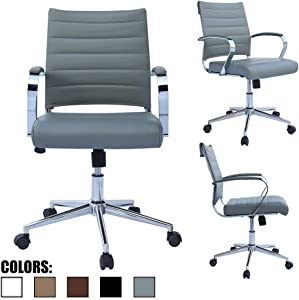2xhome - Black- Modern Mid Back Ribbed PU Leather Swivel Tilt Adjustable Chair Designer Boss Executive Management Manager Office Chair Conference Room Work Task Computer … (Gray)