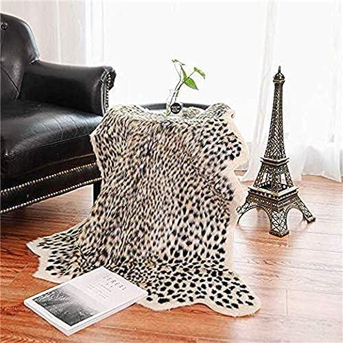 Leopard Print Rug,Faux Cowhide,Artificial Carpet,Simulation Cowhide, Leopard, Tiger, Zebra, Cow Hide Mat Rug Animal Print Rug Hide Faux Carpet A 40x37inch,