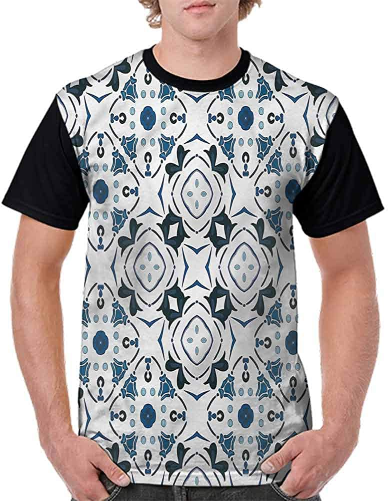 BlountDecor Loose T Shirt,Blue Tint Flowers Petals Fashion Personality Customization