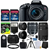 Canon EOS Rebel T7i DSLR Camera + EF-S 18-55mm IS STM Lens + EF 75-300mm III Lens + Wide Angle & Telephoto Lens + T7i/800D For Dummies + Slave Flash + Wireless Remote + Quality Tripod + Accessories