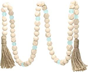 AceList Wooden Beads Garland with Tassels, Geometric Wooden Craft Beads with Aqua Acrylic Beads, Boho Farmhouse Country Rustic Wall Hanging Rae Dunn Tiered Tray Coffee Table Beach Decor