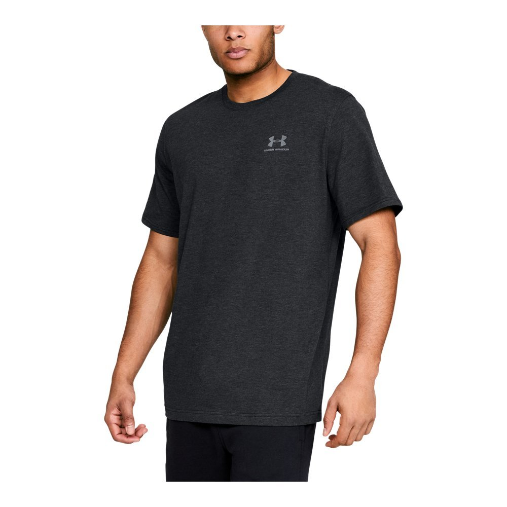 Under Armour Men's Charged Cotton Sportstyle T-Shirt, Black/Steel, Medium by Under Armour