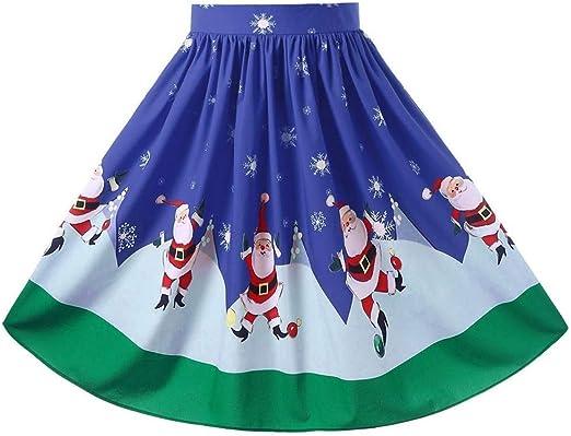 Ropa cómoda y delgada de mujer Navidad Tallas grandes Midi Swing ...