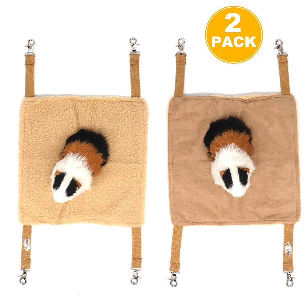 EONMIR 2Pack Small Pet Animal Hamster Hammock for Cage,House Hanging Bed Cage Toys for Mice Rats Chinchilla (Brown)