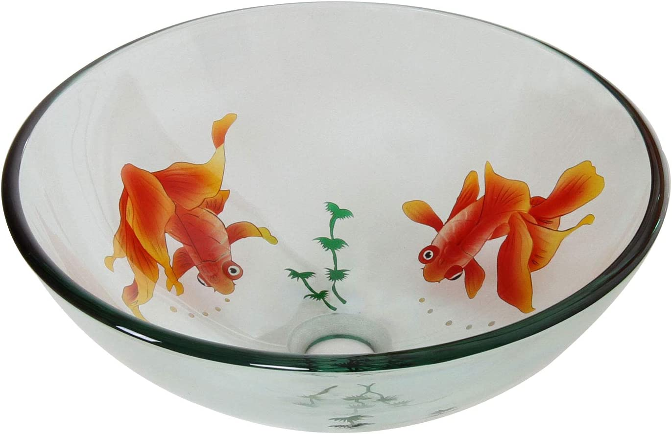 ELITE Bathroom Koi Fish Style Glass Vessel Sink Chrome Pop Up Drain Mounting Ring