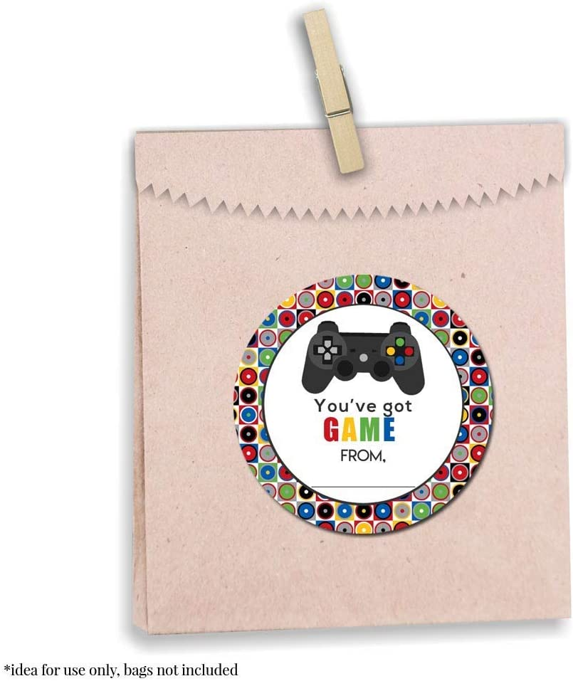 Envelope Seals Gifts /& Treats Gamer Video Game-Themed Valentine Party Favor Sticker Labels for Boys Great for Classroom Valentines 40 2 Party Circle Stickers by AmandaCreation