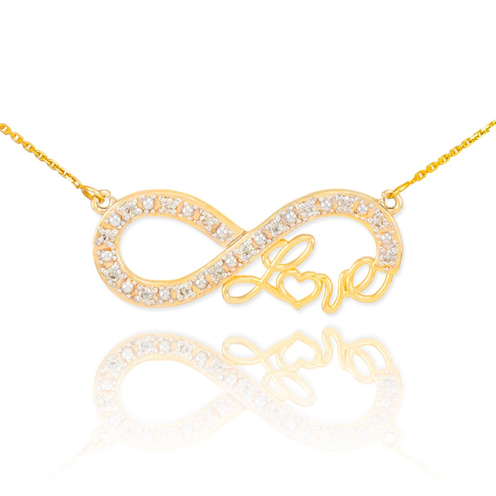 Forever 14k Yellow Gold Love Script Diamond Infinity Pendant Necklace with 16'' Dainty Chain